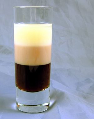 B-52 1/2 ounce Kahlua (or Tia Maria)      1/2 ounce Bailey's Irish Cream      1/2 ounce Grand Marnier (some people recommend amaretto instead – it's also much cheaper than GM!)    Pour the Kahlua into a shot glass, then layer the Bailey's, and then the Grand Marnier.    Check out our guide to layering cocktails, with photos, detailed instructions and a video.