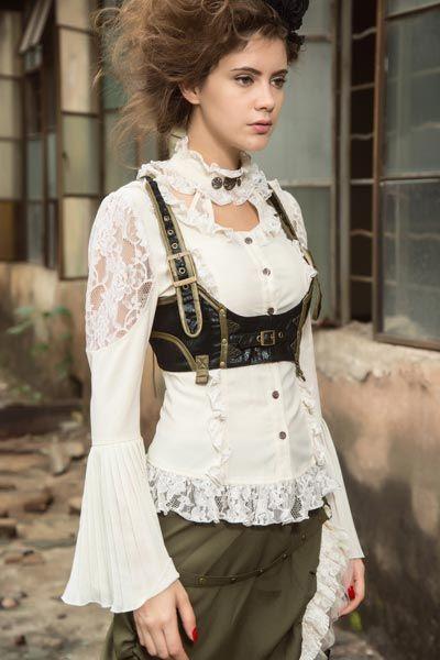 Steampunk Bluse in viktorianischem Look - weiss