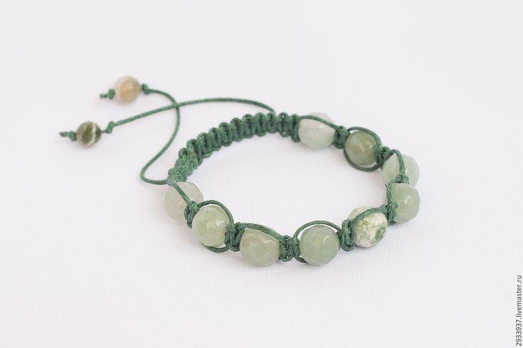 Купить Браслет «Шамбала» - зеленый, авантюрин, браслет, шамбала, шамбала браслет, подарок, авантюрин