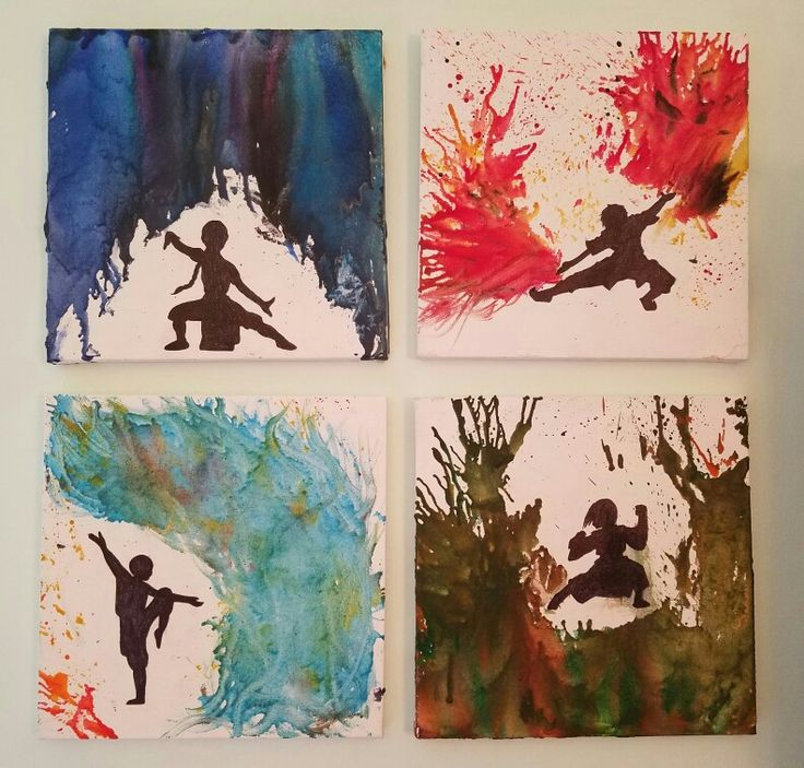Avatar the Last Airbender inspired melted crayon canvases.