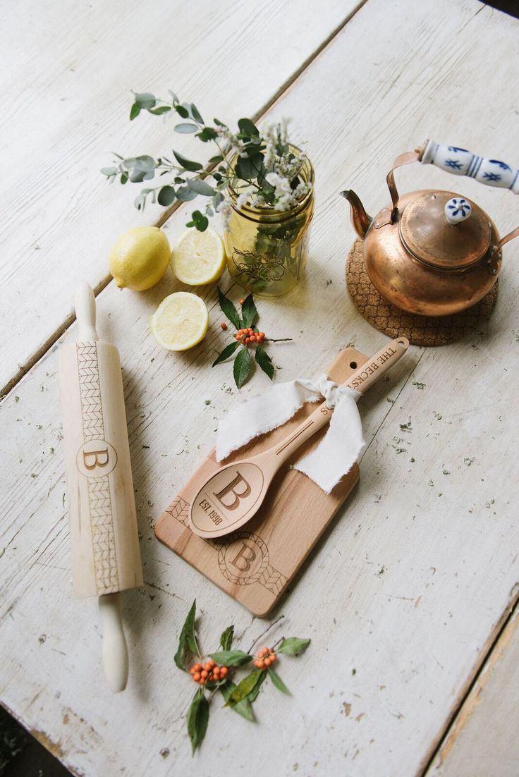 """Large Baking Gift Set - Personalized Give a truly beautiful personal gift this holiday season. Included in this gift set is a personalized 12"""" mini cheese board, a vintage rolling pin, and a 12"""" woode"""
