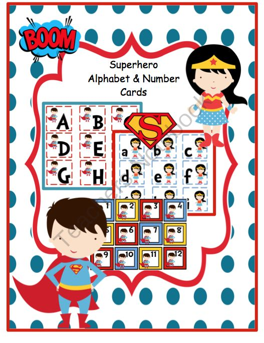 Superhero Alphabet & Number Cards from Fun Printables for Preschoolers on TeachersNotebook.com -  (13 pages)  - Alphabet upper & lowercase Number cards 1-20