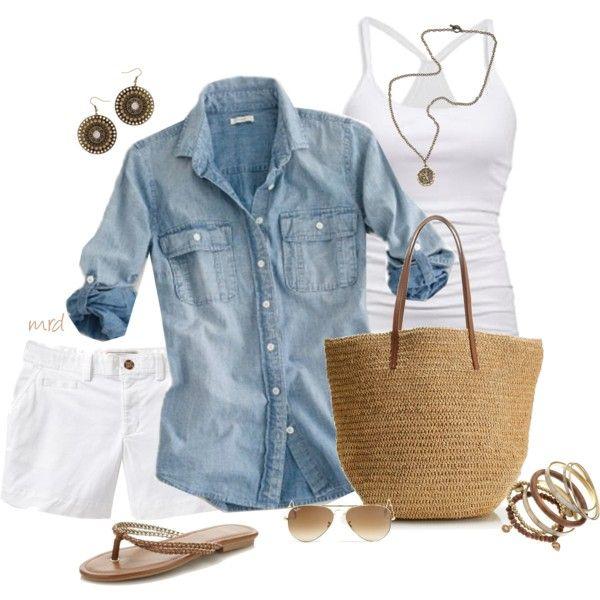 #summer #outfits / Denim Shirt + All White