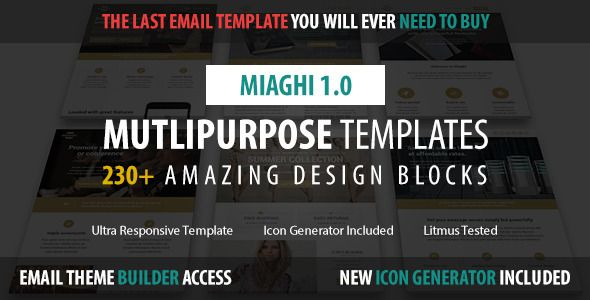 Miaghi - Multipurpose Email + Builder Access - Newsletters Email Templates