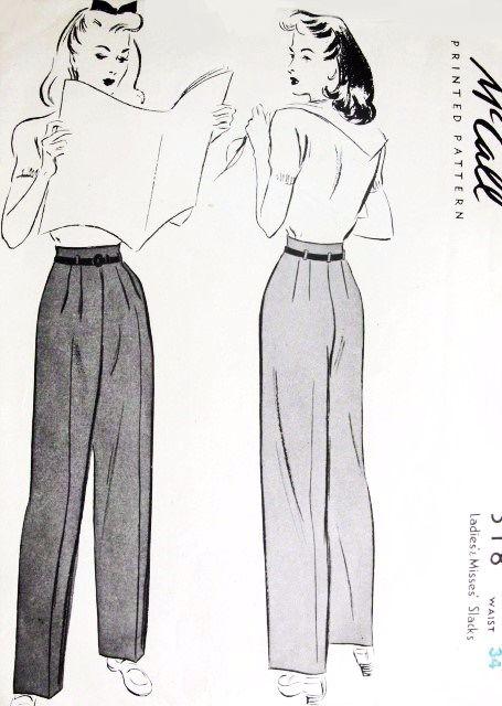 1940s FAB High Waist Pants Pattern McCALL 318 Figure Flattering Kate Hepburn Style Slacks Trousers Waist 34 Vintage Sewing Pattern UNCUT
