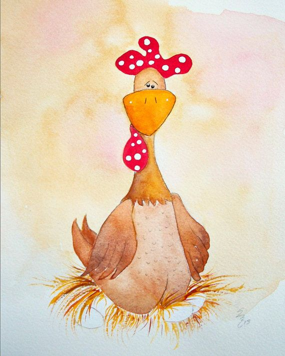 Brown Hen. Whimsical Handpainted Chicken. Mother Hen. Chicken Art. Painting. Print via Etsy