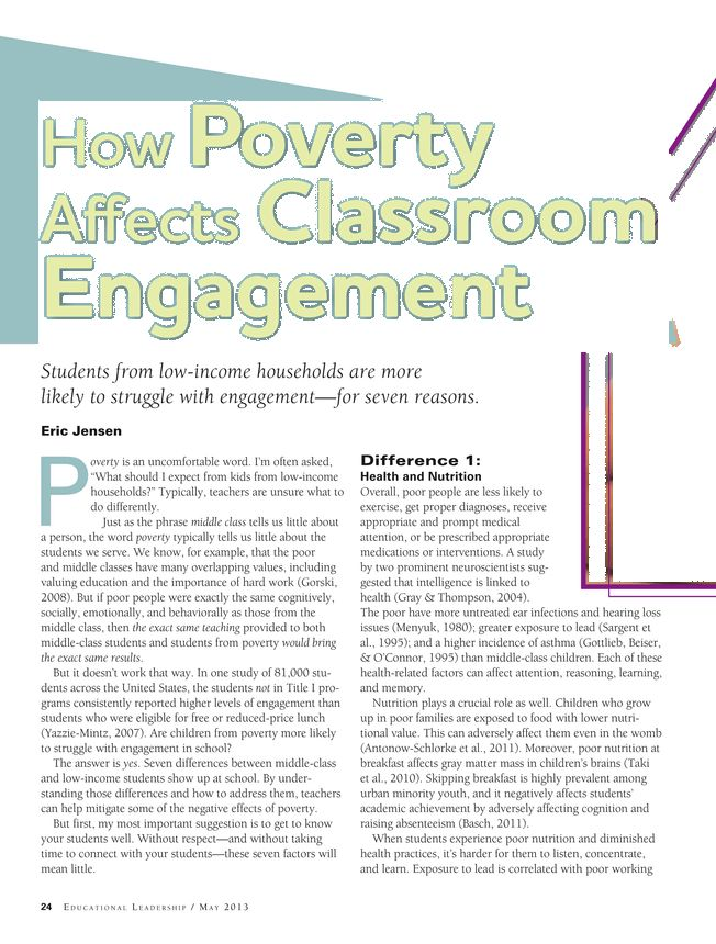 How Classroom Design Affects Student Engagement ~ How poverty affects classroom engagement by eric jensen