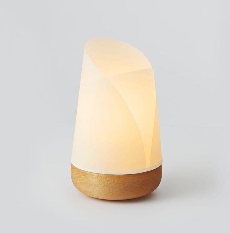 Robyn Wood – 'Bud' table lamp with hand-turned timber base and bonded parchment shade. Made in Adelaide, Australia. robynwood.com.au