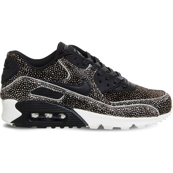 Nike Air Max 90 leopard print faux-pony hair leather trainers ($65) ❤ liked on Polyvore featuring shoes, sneakers, leopard shoes, leopard print sneakers, strap sneakers, black leather sneakers and nike trainers