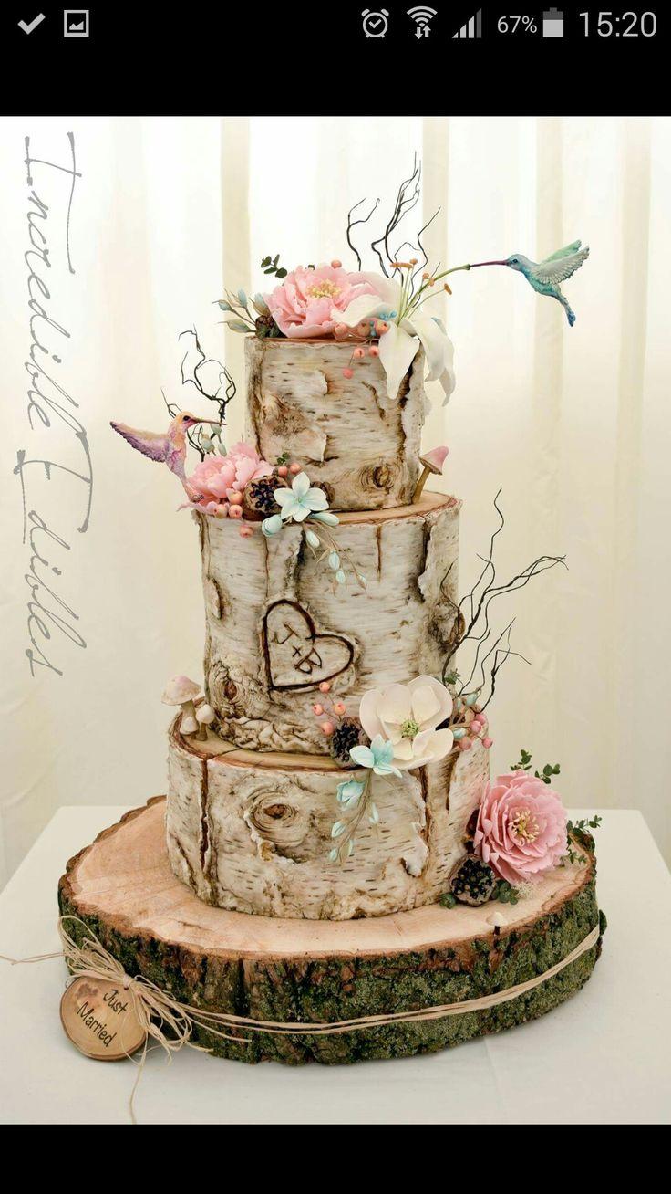 Birke Rosen holz  julz  Torte hochzeit Hochzeitstorte