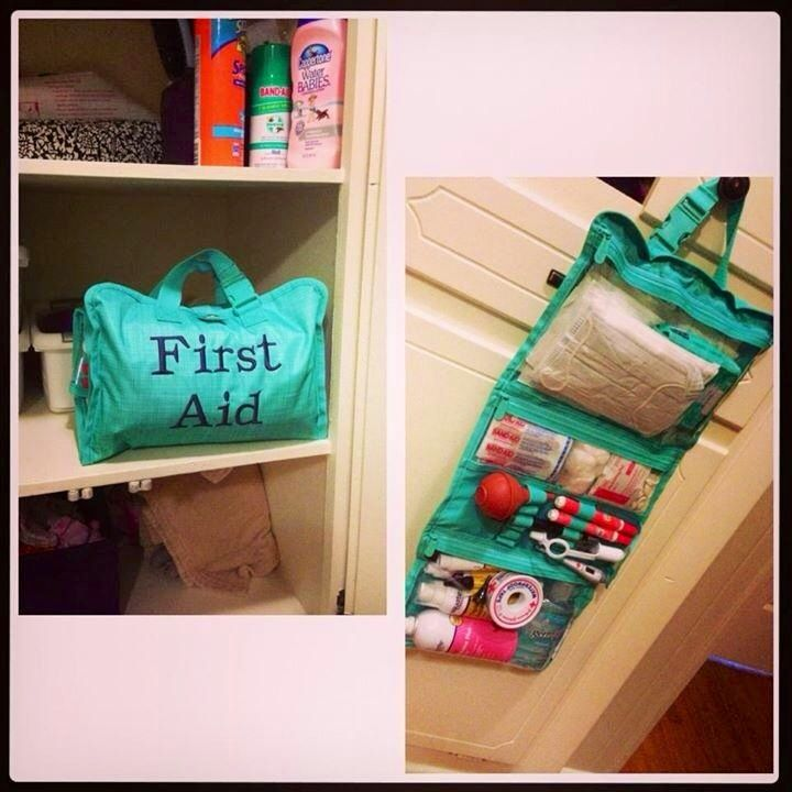 Thirty one timeless beauty bag used as a first aid kit  Join the FB fun! https://www.facebook.com/groups/SarasThreeOne/