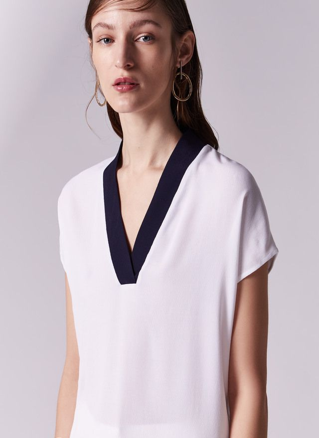 Fluid bicolor shirt - T-Shirts & Tops | Adolfo Dominguez shop online