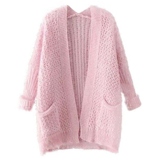Chicnova Fashion Long Sleeves Cardigan featuring polyvore, fashion, clothing, tops, cardigans, outerwear, jackets, pink cardigan, pink long sleeve top, long sleeve cardigan, long sleeve tops and pink top