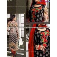 Mesmeric Black And Red Printed Churidar Suit