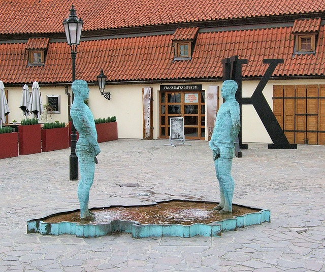 Pissing Men fountain by Czech sculptor, David Cerny