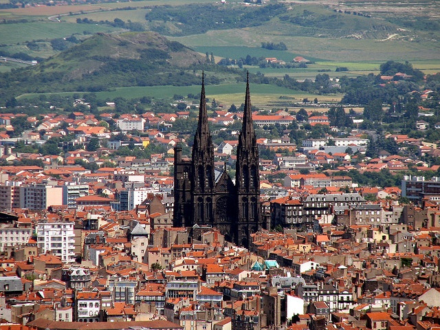 the cathedral in clermont-ferrand from a distance