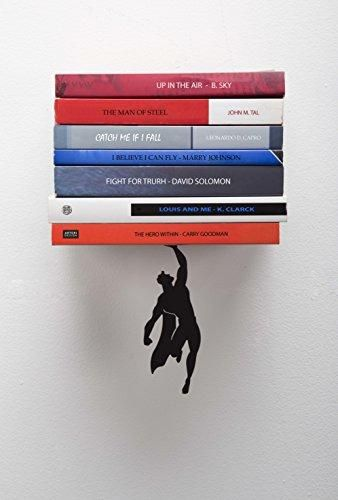 ARTORI Design Supershelf – Black Metal Superhero Floating Bookshelf, Concealed, Hidden Shelf, Unique Book Shelves, Gifts for Geeks, Gifts for Book Lovers, Cool Book Stacker Stopper