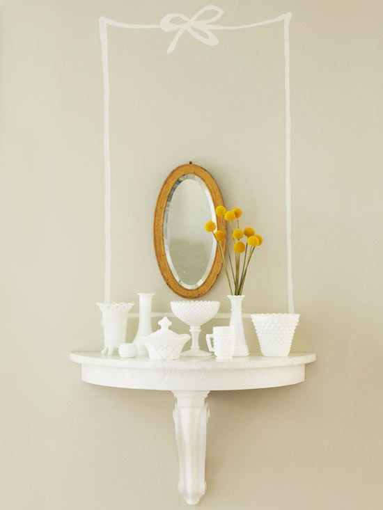 Add interest to a blank wall with a cute painted bow and frame.: Arrangement, Decorating Projects, House, Decoration Ideas, Vignette, Blog, Design, Wall