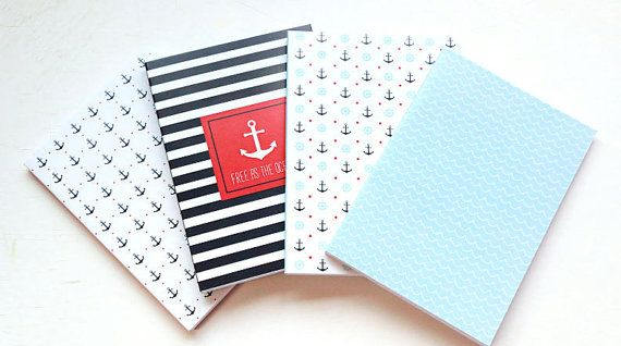Notebook Journal Navy Collection  Pack 4 Notebooks by ClaraMatse on Etsy