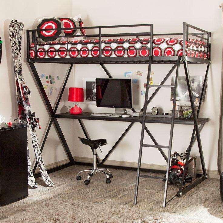 Кровать-чердак с рабочей зоной для подростка: 50 фото оптимизированного пространства http://happymodern.ru/krovat-cherdak-s-rabochej-zonoj-50-foto-optimizirovannogo-prostranstva-3/ Металлическая кровать надежнее, но не такая удобная