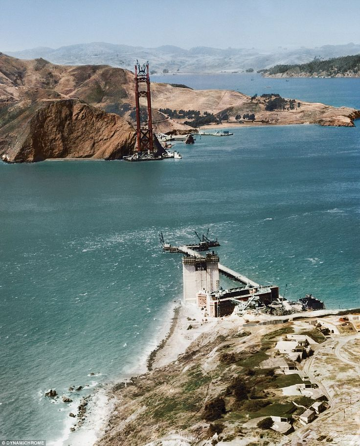 A picture of the Golden Gate Bridge under construction in San Francisco in 1934