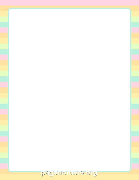 Printable Pastel Striped Border. Use The Border In Microsoft Word Or Other  Programs For Creating