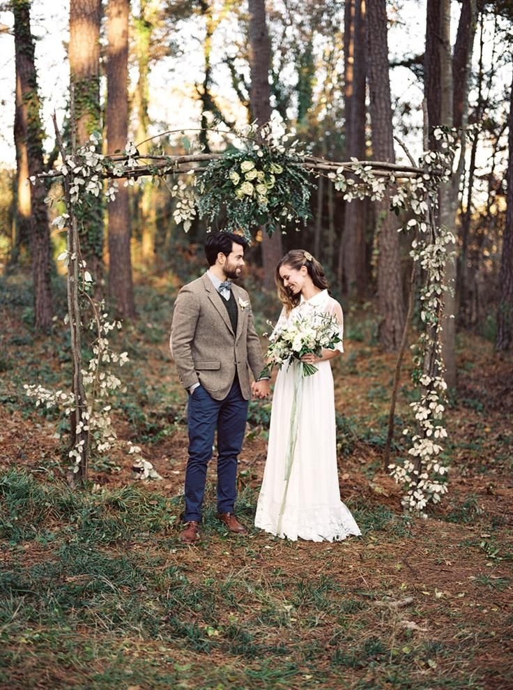 A beautiful rustic arch for a woodland ceremony