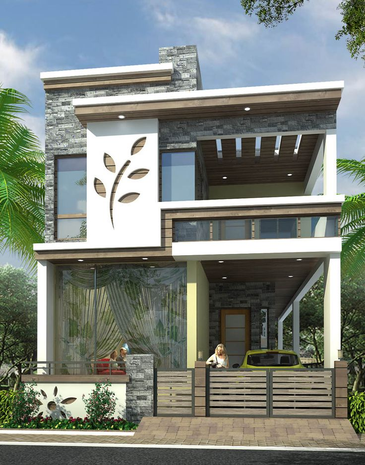 217 best elevation images on pinterest contemporary for Front view of duplex house in india