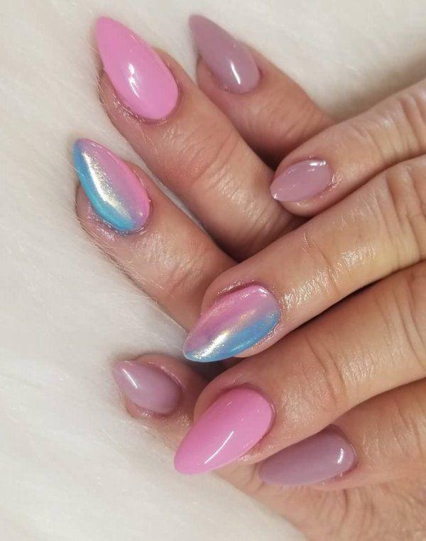 Tri Color Nails : color, nails, Tri-Color, Almond, Nails, Ombre,, Ombre, Designs,