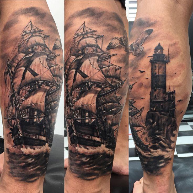 Ship and Light house