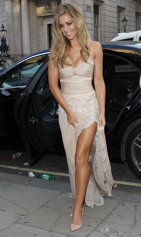 Cheryl Cole - fragrance launch - storm flower - wedding dress - train - lace nude dress - handbag.com