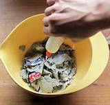 Egg Carton Paper Mache Pulp Recipe: -Cardboard Egg Cartons, -Warm Water, -Salt, -Glue.