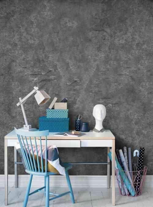 déco murale avec papier peint imitation pierre et texture en gris foncé