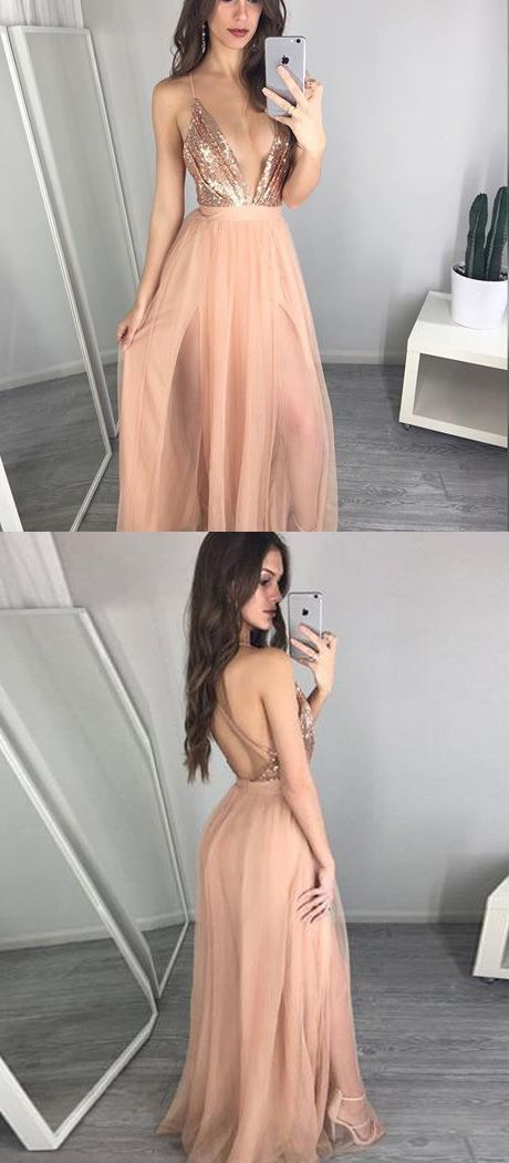 Deep V-neck Floor Length Peach A-line Prom Dress with Pleats Sequins · lovingdress · Online Store Powered by Storenvy