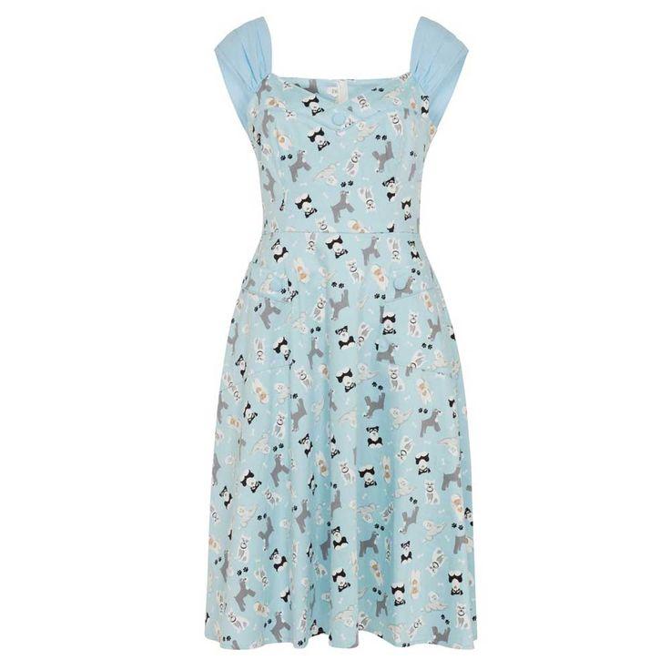 Voodoo Vixen Aubrey jurk met retro honden print blauw - Rockabilly Vin