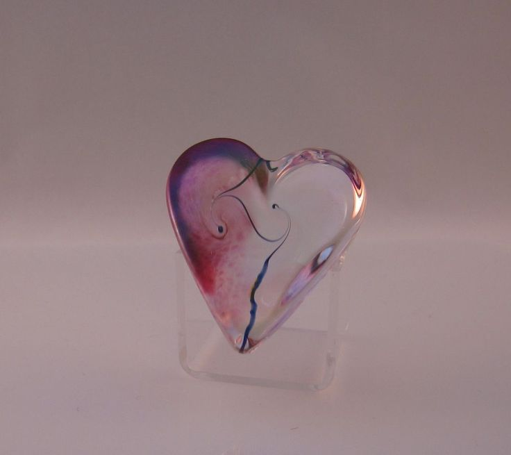 Robert Held Art Nouveau Cranberry Swirl Small Heart Paperweight Signed Label | Pottery & Glass, Glass, Art Glass | eBay!