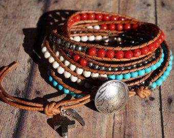 Leather Wrap Bracelet, Native American, Turquoise, Pyrite, Coral, & Bone, Western Jewelry