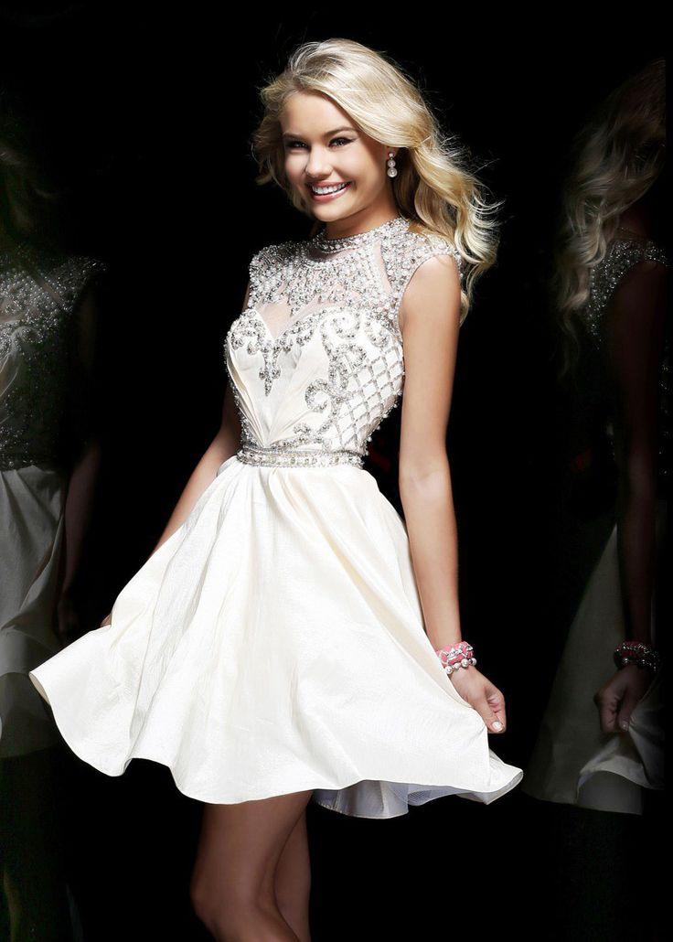 Sherri hill 4300 ivory beaded short homecoming dresses for Prom dresses that look like wedding dresses