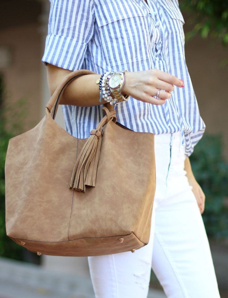 Oasis Bag - Sophistifunk by Brie Bemis Rearick | A Personal Style + Beauty Blog: Striped Lace-Up Shirt