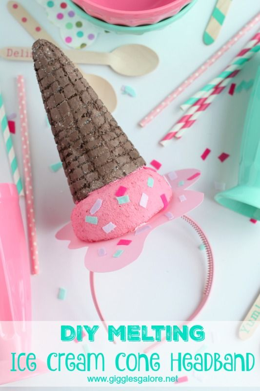 DIY Melting Ice Cream Cone Headband - Giggles Galore #makeitfuncrafts