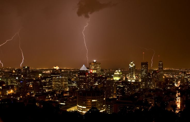 Lightning storm on Montreal.