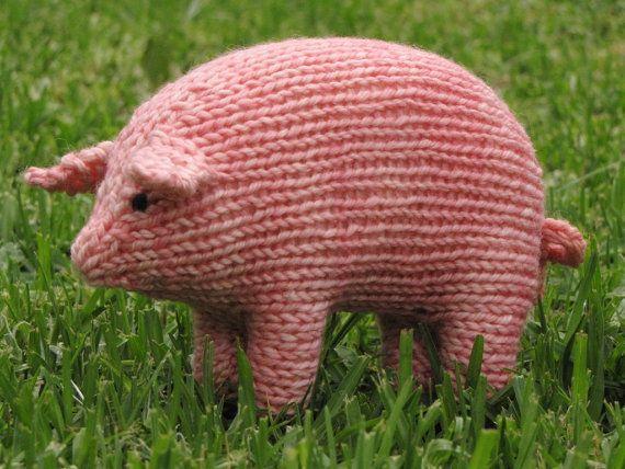 Pig Knitting Pattern, Waldorf, Toy, PDF (Medium Size)