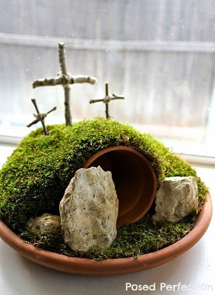 Three Crosses on Easter Garden