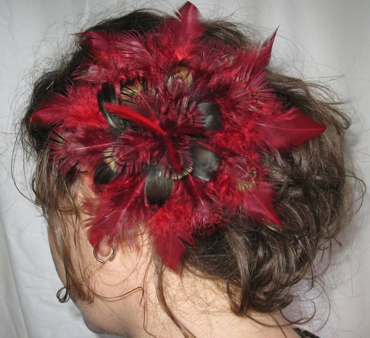Spicy Black And Lightly Irridescent Red Wine Feather Flower Fascinator, Hairpiece, Clip, Accessories by PeachesPlumageWorks on Etsy