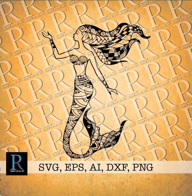 Mermaid Zentangle SVG, Mermaid Mandala SVG, Mermaid for