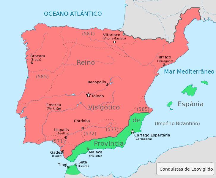 File:Iberia 586 Reino Visigotico 570-585 capitol at Toledo Bracara (Braga) Portugal; Hispalis (Seville, Sevilha) Tarraco (Tarragona), Emerita (Merida), Recopolis, Vitoriaco (Vitoria-Gasteiz).... Byzantine in Green: Cartagena capitol; Malaca (Malaga), Tingi, Sete Morrocco...