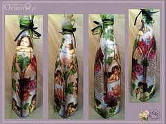 Magic Bottle Angels in bunches of peonies (pasjadecoupage) Tags: bottles decoupage magicbottle decoupagebottles