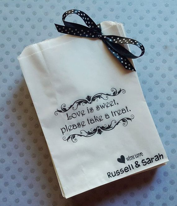 Love is Sweet, Please take a Treat Personalised Paper Candy Buffet Lolly Bags x 50 on Etsy, $12.50 AUD