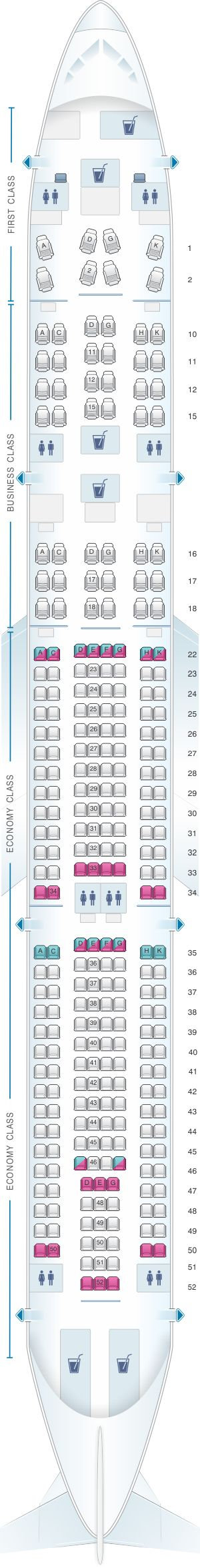 Seat Map Cathay Dragon Airbus A330 300 (A33R)