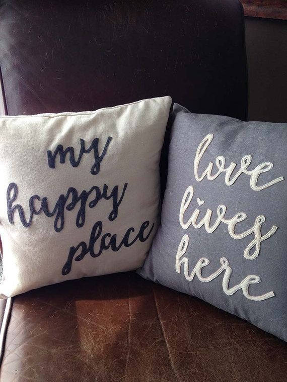 My Happy Place typography cushion by TheScarlettStudio on Etsy